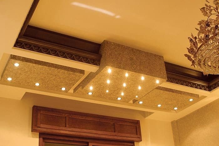 Concrete design for false ceiling with wood accents