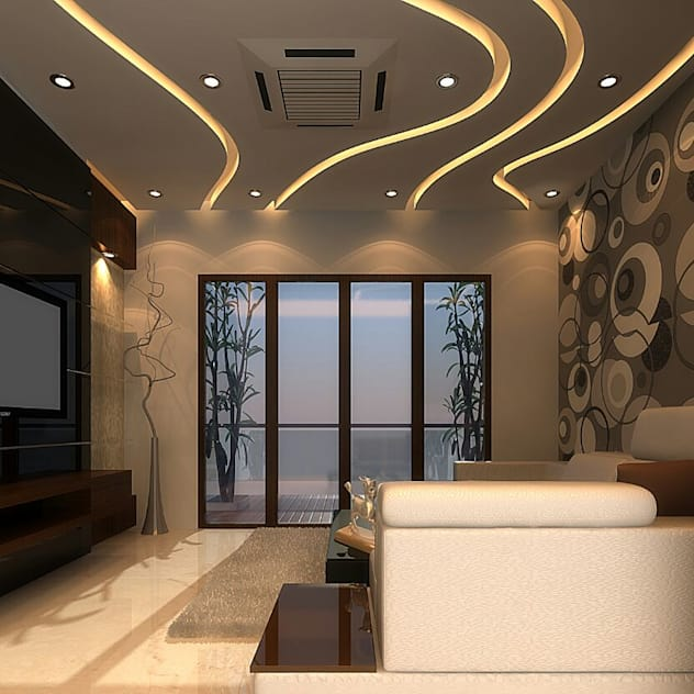 wavey ceiling design with lighting and decor