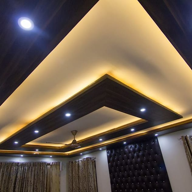 Square cutout with wood accents and fan with lighting in ceiling design