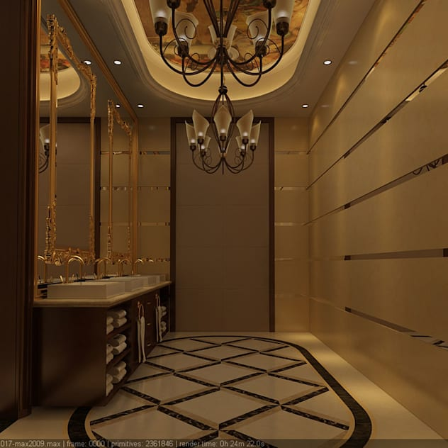 Luxury false ceiling with gold bathroom fixtures and chandelier