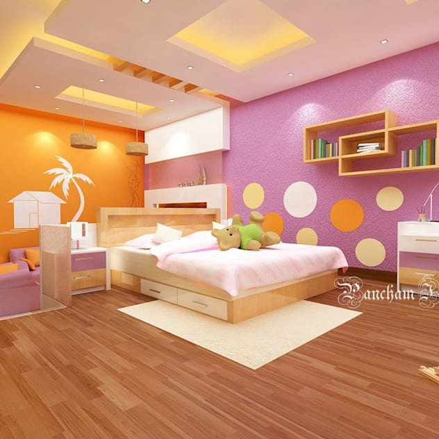 Orange and purple room with cutouts in ceiling