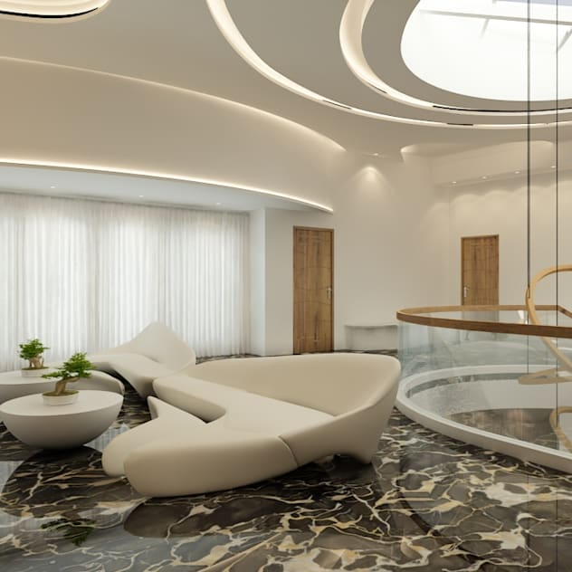 False ceiling and skylight with modern furniture and little trees