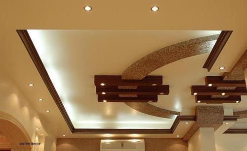 Wood in pop design with false ceiling and lighting
