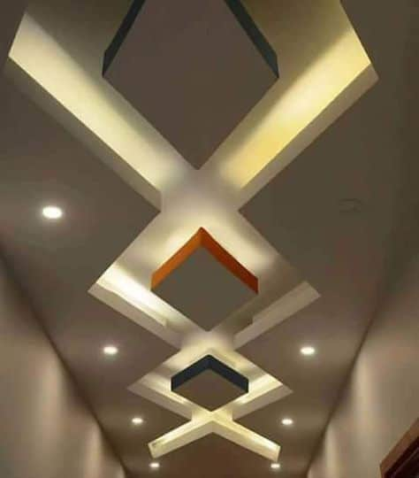 Diamond pattern on ceiling with lighting