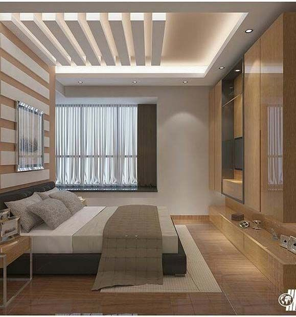 Rectangle cutouts in square designed ceiling in bedroom with light colors