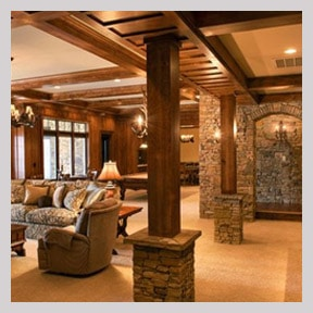Rustic Walkout Basement Ideas with stone and hardwood