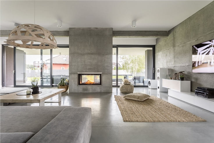 Grey themed accent walls and decor with fireplace