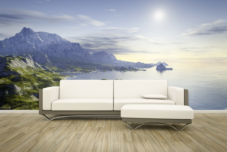 Wall Mural Ideas with white and brown couch withj mountains and seascape