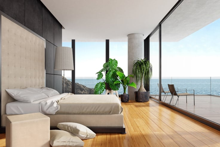 bedroom wall combinations with beachfront view and plants