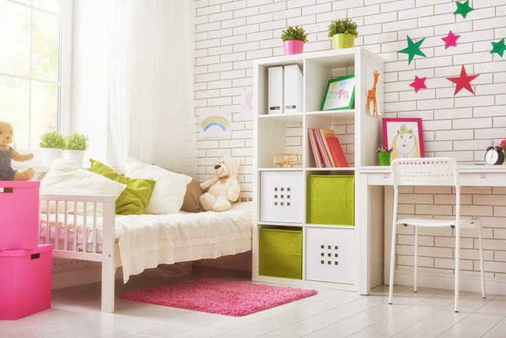two color combination for bedroom walls featuring green and pink with white brick